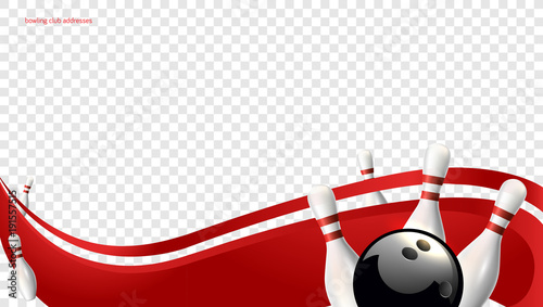 Obraz na plátně Bowling wave red. Tv size banner. Vector clip art illustration.