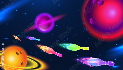 Obraz Vector illustration of a cosmic bowling planet, space bowling pins and ball; on a blue star background. - fototapety do salonu