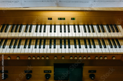 Pipe organ keyboard console - Buy this stock photo and