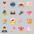 Icons set about Wedding. with groom, crown and wedding bells