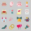 Icons set about Wedding. with bouquet, video camera and genders