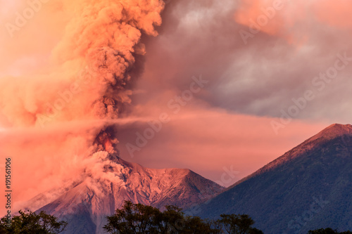 Fuego volcano erupting at dawn, near Antigua, Guatemala