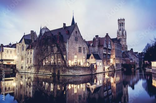 Poster Brugge Bruges cityscape, Belgium