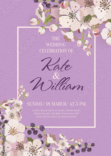 Vector invitation with handmade floral elements flowering branches vector invitation with handmade floral elements flowering branches on a lilac background modern wedding stopboris Image collections