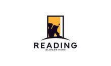 Open Knowledge Logo Template, Boy Reading Logo Designs Concept Vector