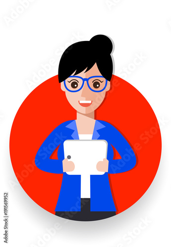 business woman cartoon icon vector illustration avatar Canvas Print
