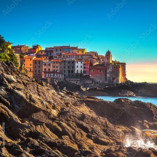 Printed kitchen splashbacks Athens Tellaro rocks and village on the sea. Cinque terre, Ligury Italy