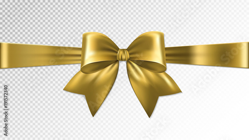 Shiny gold satin ribbon on transparent background. Vector Canvas
