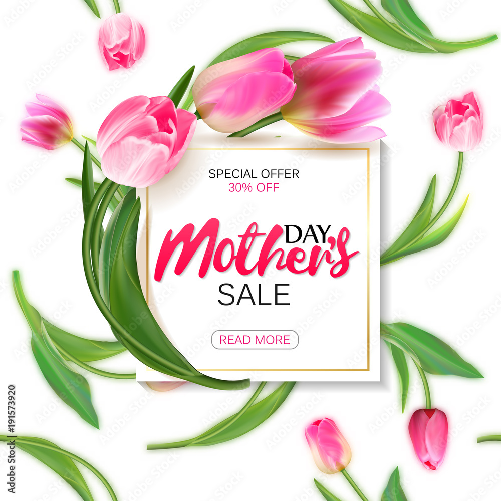 Fototapeta Mother's day sale shopping special offer holiday banner vector illustration. White plate with pink tulips on seamless tulips backdrop