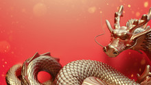 Golden Dragon On Red Background.