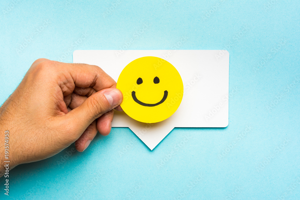 Fototapety, obrazy: Good job concept. Happy face smiling on speech bubble and blue background.