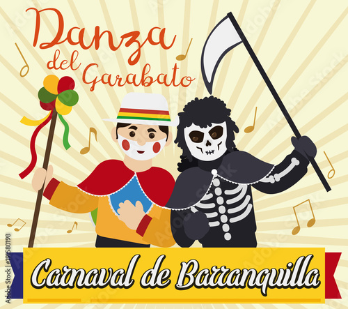 Garabato Character and Death Dancing in Barranquilla's Carnival, Vector Illustra Fototapet