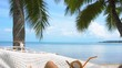 Young Woman Swinging in Hammock with Coconut. Vacation in Paradise
