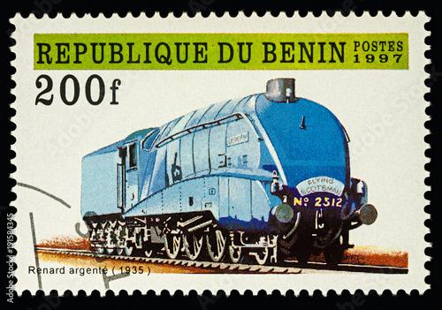 "Fotografia  Old locomotive ""Silver Fox"" (1935) on postage stamp"