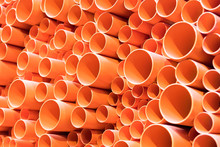 PVC Pipes Stacked In Construct...