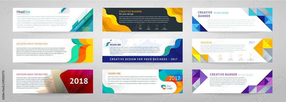 Obraz Vector set of abstract horizontal banner fototapeta, plakat