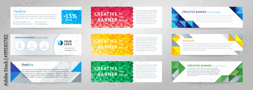 Fototapeta Vector set of abstract horizontal banner obraz