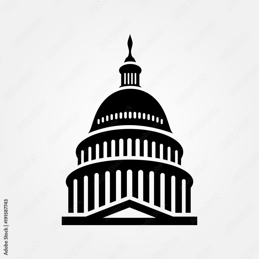 Fototapety, obrazy: United States Capitol building icon. Vector illustration