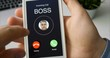 Receiving phone call from Boss and accepting. Mobile communication concept