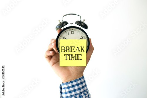 Fotografie, Obraz  Hand Holding Alarm Clock and Pointing BREAK TIME