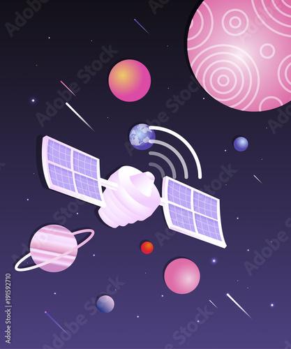 Space world illustration Wallpaper Mural