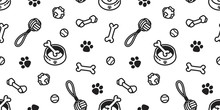 Dog Seamless Pattern Vector Toy Puppy Dog Paw Wallpaper Background Isolated Doodle Cartoon