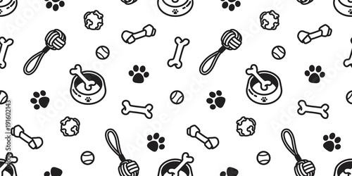 Obraz dog seamless pattern vector toy puppy dog paw wallpaper background isolated doodle cartoon - fototapety do salonu
