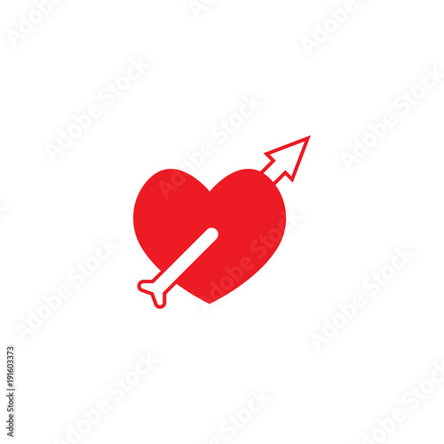 Fotografie, Obraz  Love stab by outlined arrow love graphic template
