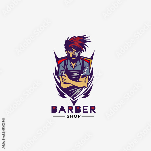 Blue And Red Shield Barber Shop Logo Vector Illustration Buy This
