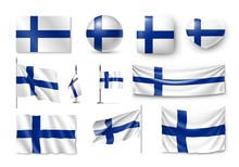 Set Finland Flags, Banners, Ba...
