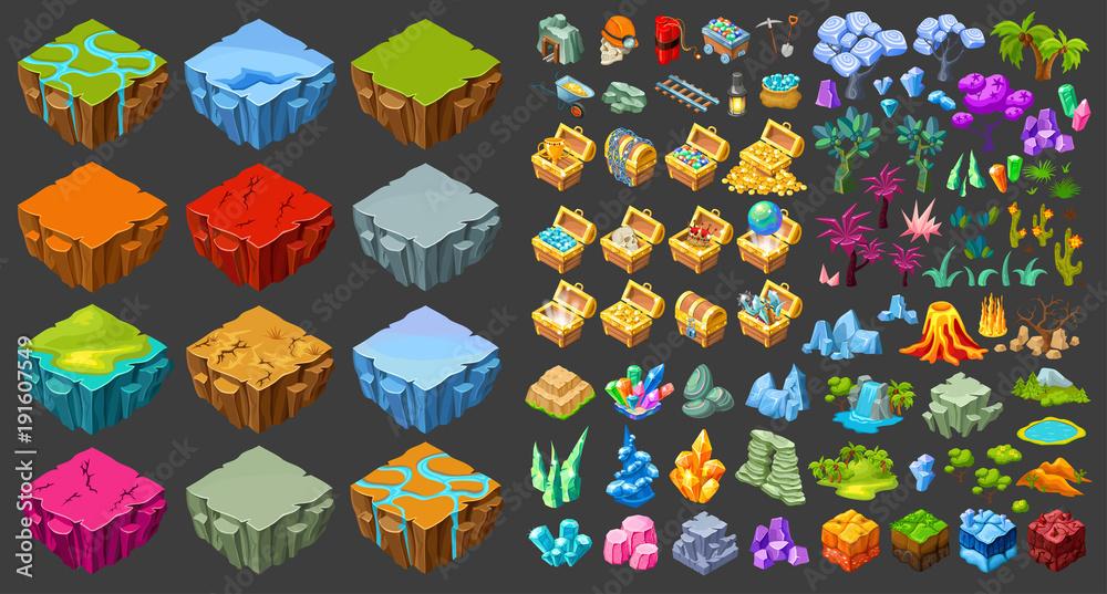 Zestaw ikon krajobrazu gry izometryczny <span>plik: #191607549 | autor: ivan mogilevchik</span>
