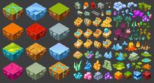 Isometric Game Landscape Icons...