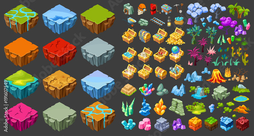 Fotografie, Tablou  Isometric Game Landscape Icons Set