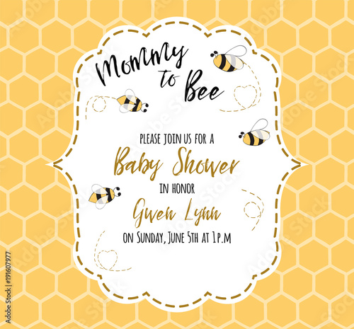 Fototapeta Baby Shower Invitation Template With Text Mommy To Bee Honey Cute Card Design For Girls Boys
