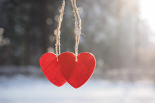 Two Red Hearts And Winter Snow Scene Background