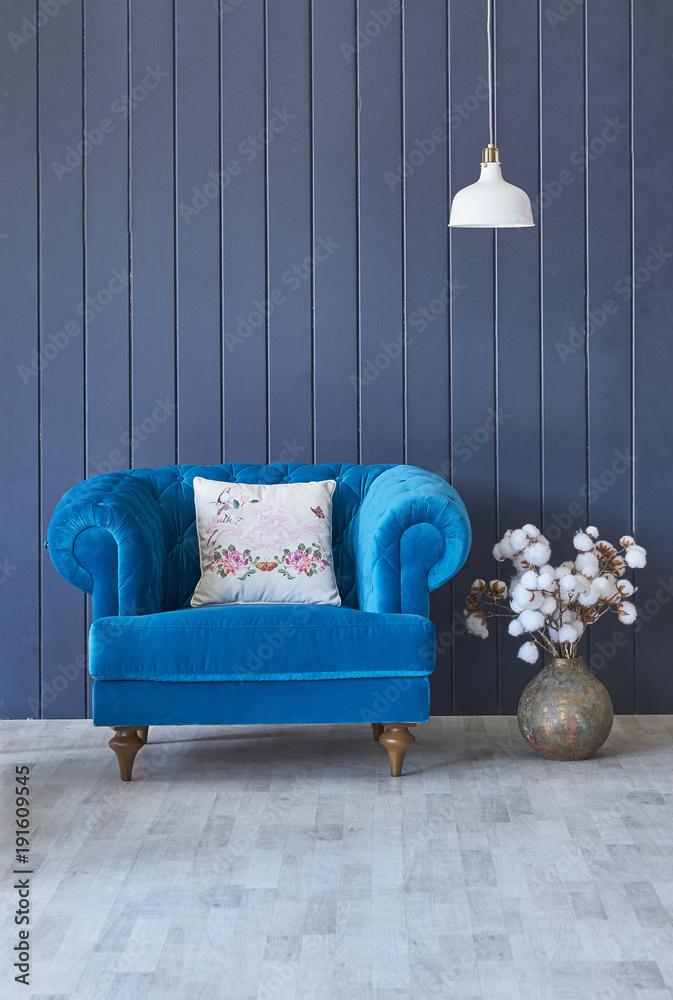 nowoczesny wystrój domu dekoracyjny niebieski wazon z kwiatami