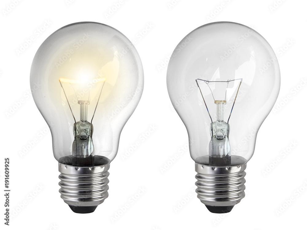 Photo  Light bulb, isolated, on white background
