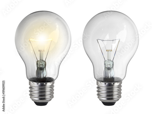 Fotografie, Obraz Light bulb, isolated, on white background