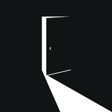 Slightly Open Black Door With ...