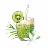 Watercolor smoothie vector illustration - 191614761