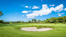 The Sand Bungker In Golf Course With Blue Cloud Sky Background