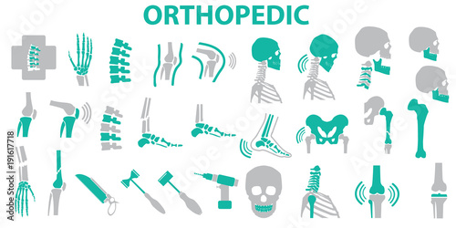 Fotografía  Orthopedic and spine symbol Set - vector illustration eps 10 , mono vector symb