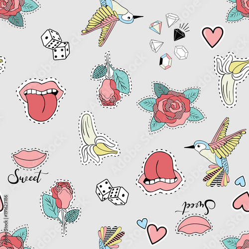Vector illustration of seamless pattern with fashion patches