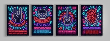 Rock Festival Set Of Posters In Neon Style. Collection Neon Sign, An Invitation To The Concert Brochure On Roknrol Music, Bright Banner, Flyer For Festivals, Parties And Concerts. Vector Illustration