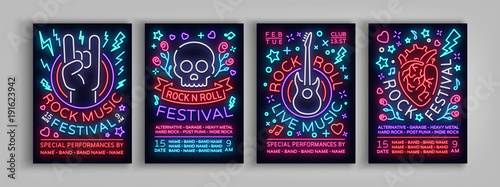 Fototapeta Rock Festival set of posters in neon style. Collection neon sign, an invitation to the concert brochure on roknrol music, bright banner, flyer for festivals, parties and concerts. Vector illustration obraz