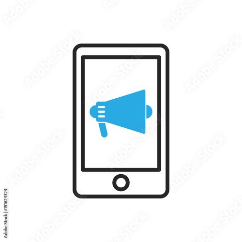 Photo Smartphone icon. Mobile reading aloud
