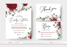 Wedding Floral Invite, Save The Date, Thank You, Rsvp Card Design With Red And White Garden Rose Flowers, Seeded Eucalyptus Branches, Green Leaves, Amaranthus Delicate Decor. Vector Art Templates Set