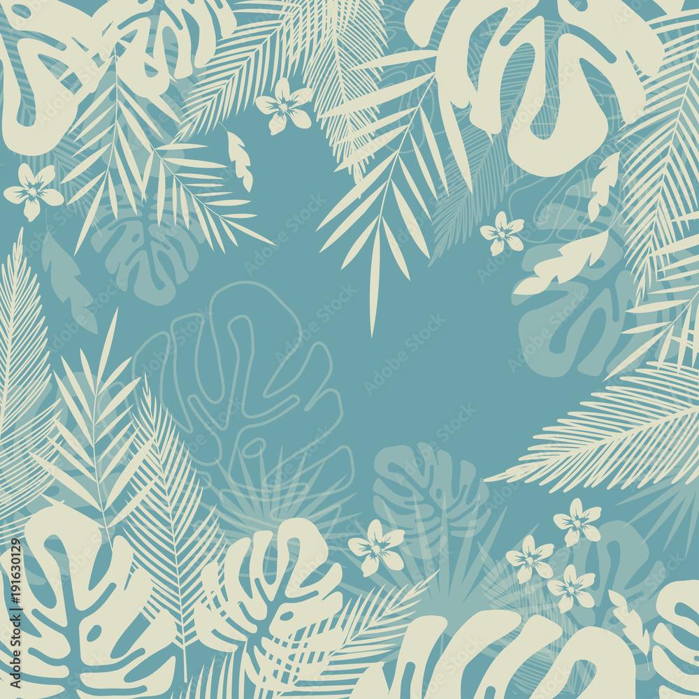 Fototapeta Tropical jungle leaves seamless pattern background. Tropical poster design. Monstera art print. Wallpaper, fabric, textile, wrapping paper vector illustration design