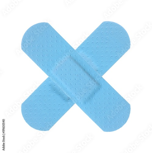 Various LIGHT BLUE Strips of ADHESIVE BANDAGES PLASTER - Medical Equipment Canvas Print