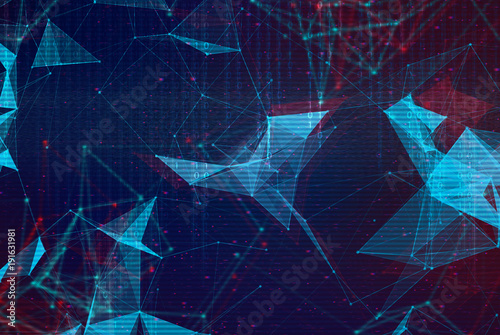 Abstract polygonal space low poly background Wallpaper Mural